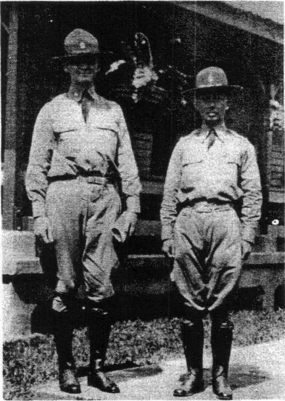Chaplain (1LT) Pedro Pajarillo (right) with Chaplain (MAJ) William Arnold, during Annual Training of the 45th Infantry - Philippine Scouts at Fort William McKinley, Manila. (November 1930).